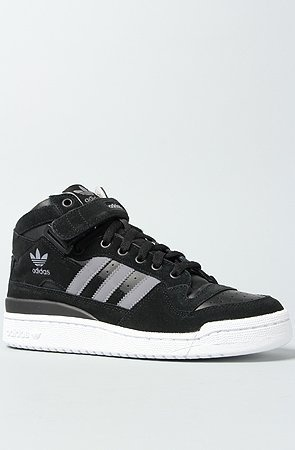 adidas The Forum Mid RS Sneaker in Black, Tech Grey, & White By Adidas  Suede and perforated leather mid- hi sneaker;