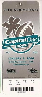 2006 Capital One Bowl Game Full ticket Wisconsin Auburn