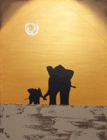 """original abstract landscape """"elephants , A hand to hold"""" africa animal painting art canvas - 18 x 24""""  4 other sizes available"""