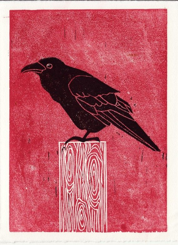 COMMON RAVEN original linocut block print