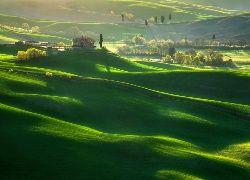 Toskania, Włochy, Pola, Domy, Wzgórza