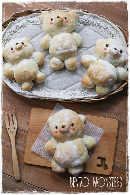 Japanese-milk-bun-bear Recipe by Bento, Monster  Enjoy ♪~