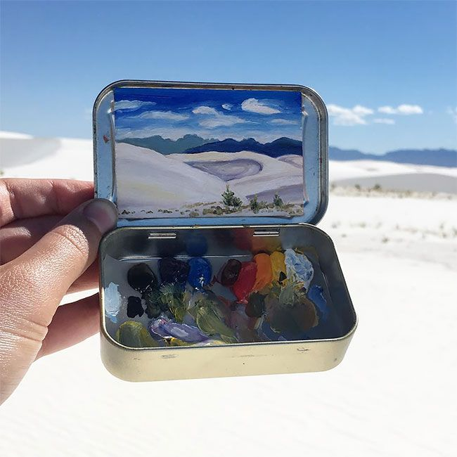 """Two years ago, Heidi Annalise quit her government job in Washington DC and returned to her home state of Colorado to paint– out of handheld mint cans. She spends most of her days """"frolicking in meadows"""" and painting the wilderness and has since managed to rack up an Instagram following of more than"""
