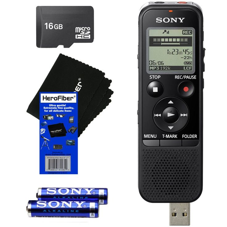 Sony ICD-PX440 Stereo IC MP3 Digital Voice Recorder Built-in 4GB and Direct USB + 16GB MicroSDHC Memory Card + AAA Batteries & HeroFiber® Ultra Gentle Cleaning Cloth