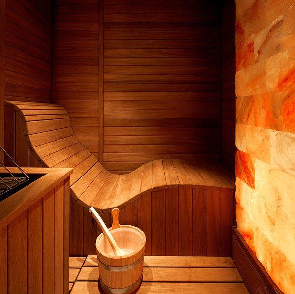 Himalayan Salt Sauna. Liking the contoured bench idea.