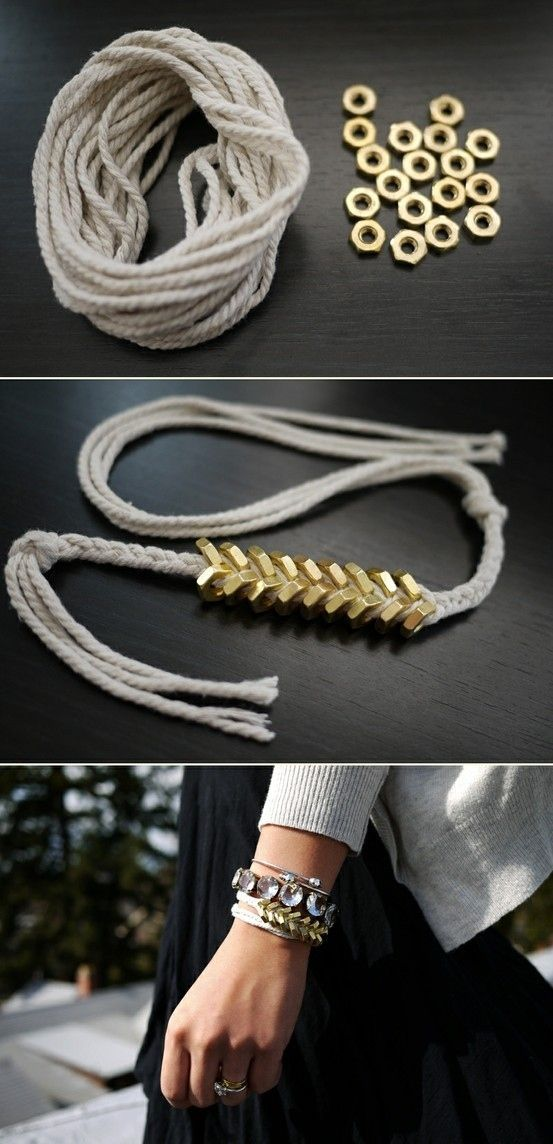 chevron bracelet from nuts - would also look nice with cloth scraps interested of rope