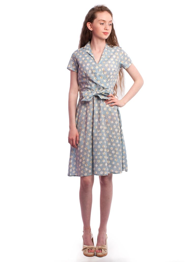 Tulip and polka dot print Joan wrap dress from Circus #dress #vintage #style #1940s #1950s #floral #summer #carousel #circus