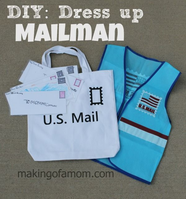 DIY: Dress up - Mailman with a vest, mailbag and letters created with the Silhouette