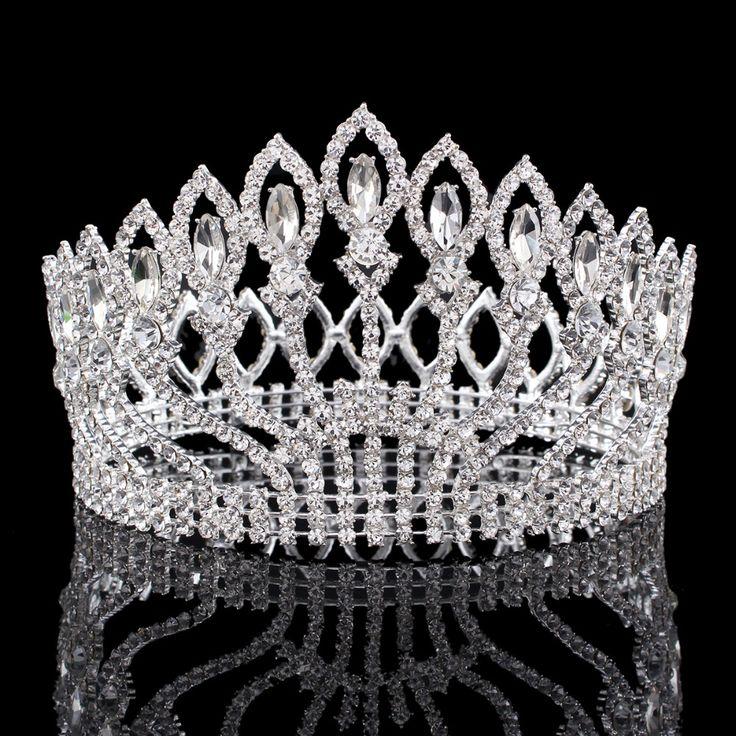 ヴィンテージ大きなラインストーンウエディングプリンセスクラウンクリスタル花嫁の花ティアラ花嫁ヘッドジュエリーページェントウェディングヘアアクセサリー