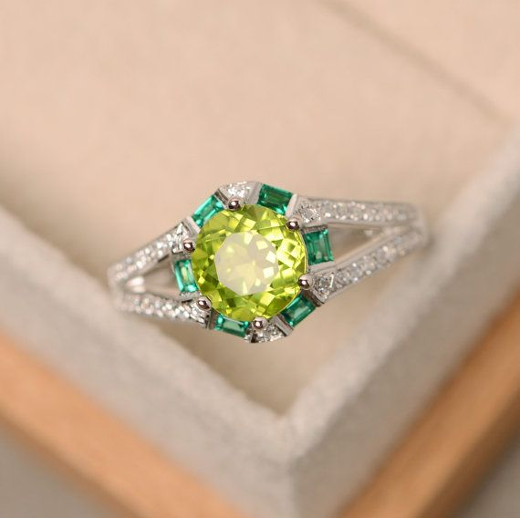 Peridot ring enagement ring natural peridot by LuoJewelry on Etsy