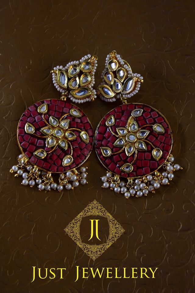 Coral Patchi Earrings..!! Price - 6,500 /- Place your order by sending us an email to justjewellery08@gmail.com