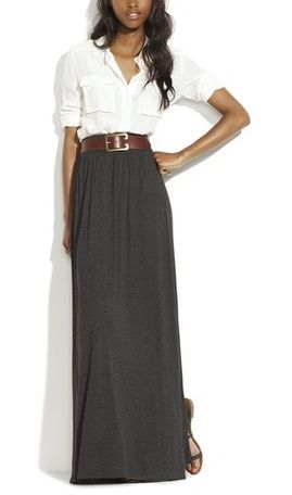Grey Maxi Skirt with White Button Down Shirt and Wide Brown Belt