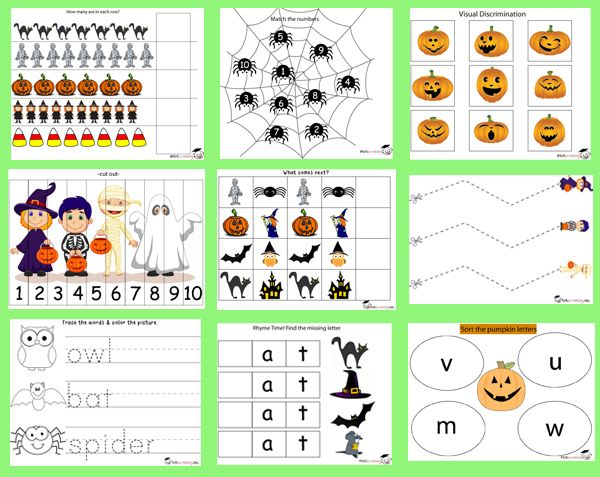 free halloween printable pack for toddlers prek - Free Preschool Halloween Printables