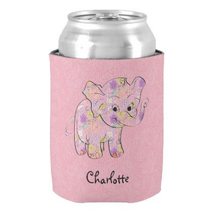 Floral Baby Elephant On Pink Damask Can Cooler  $7.30  by gogaonzazzle  - cyo customize personalize diy idea