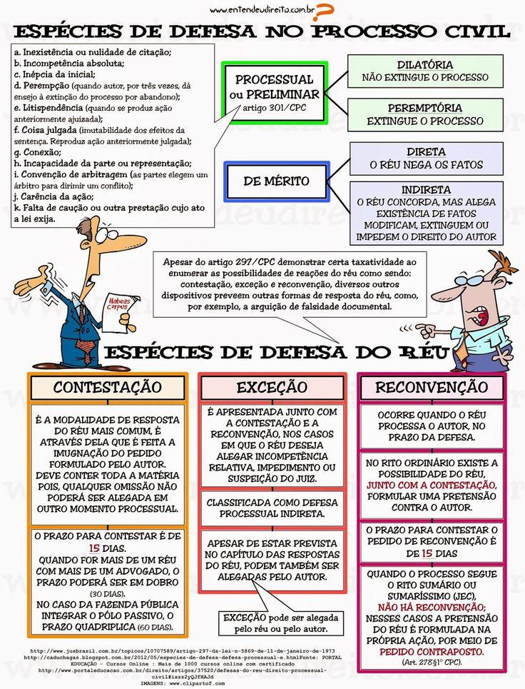 ENTENDEU DIREITO OU QUER QUE DESENHE ???: ESPÉCIES DE DEFESA NO PROCESSO CIVIL