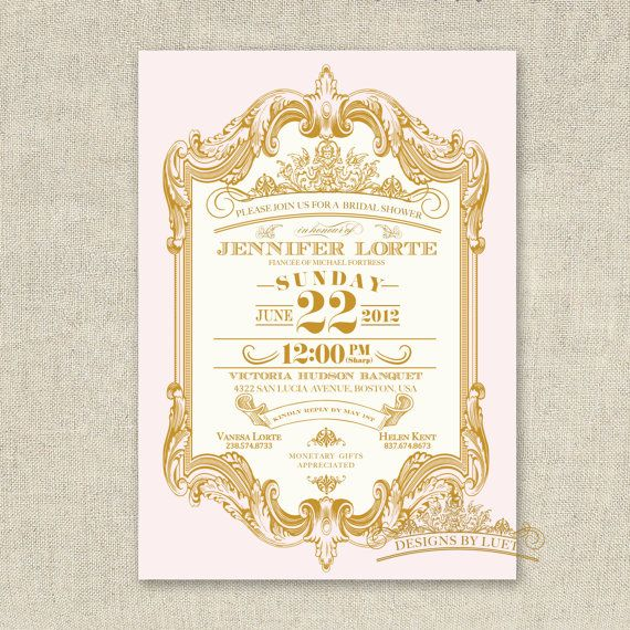 Pink and Gold Mint and Gold Baroque Bridal Shower by luetdesigns