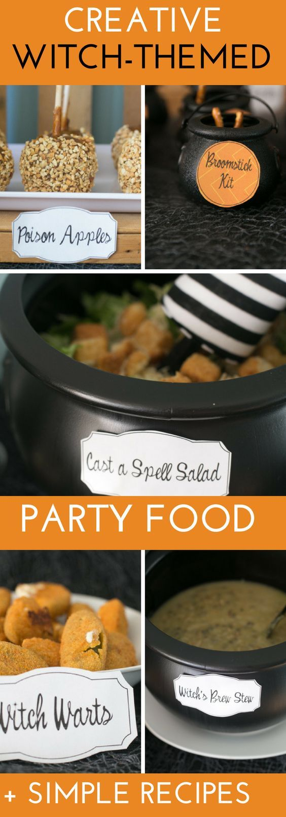 Creative & Cute Halloween Party Food Ideas for a Witch-themed Halloween party or Hocus Pocus Party- Simple witch-themed party food ideas and recipes