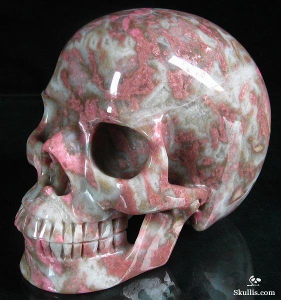 Pink & White Rhodonite Crystal Skull