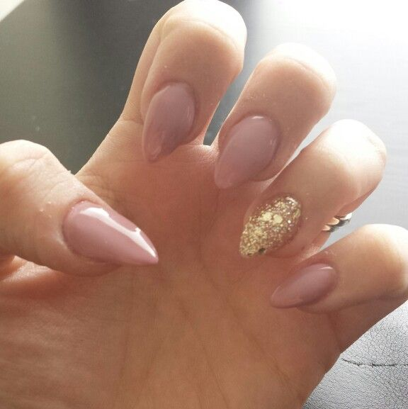 Nude and gold almond nails, love them!
