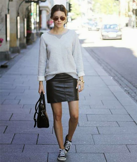 what shoes to wear with leather pencil skirt