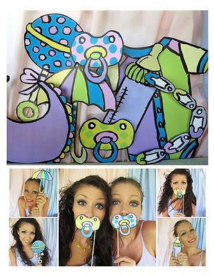 Printable Cute Baby Photo Booth Props Multicolor Perfect for A Baby Shower | eBay