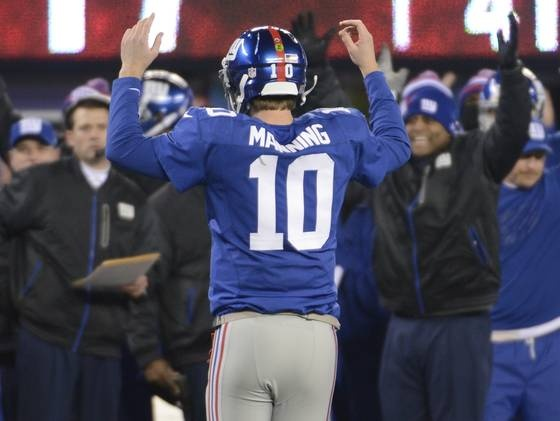 New York Giants quarterback Eli Manning (10) after scoring his 200th career TD pass, a Giants record (passing Phil Simms).