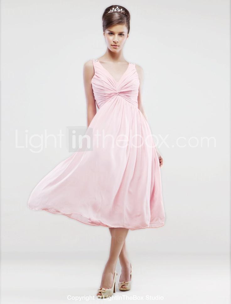 Lanting bride tea length chiffon bridesmaid dress a for V neck tea length wedding dress