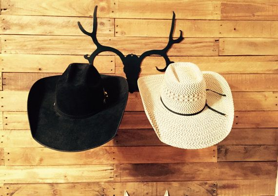 Do you like to hunt? Hang your hat on this Cowboy Hat Rack by HighDesertMetalcraft