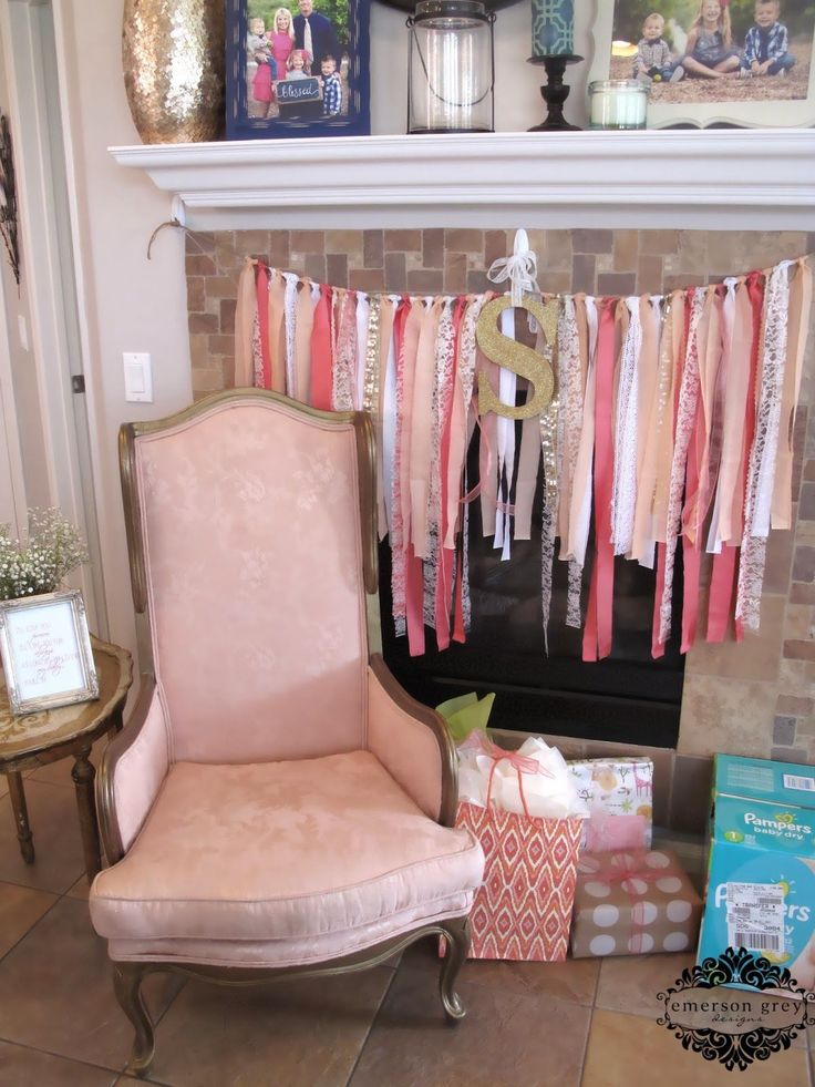 Showering my sister {coral baby shower}, a coral and gold baby shower, ribbon swag garland, glitter letter, I'll love you forever