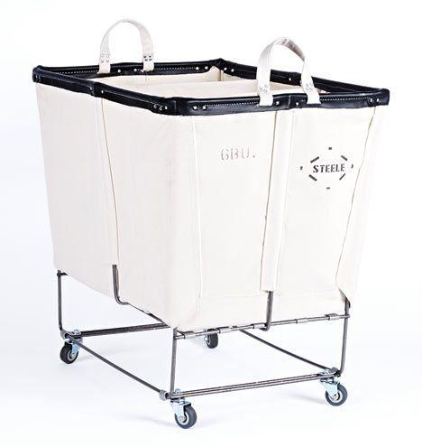 6 Bushel Canvas 3-Section Laundry Bin Natural Canvas with Black Vinyl Trim E8015