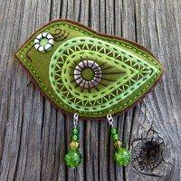 embroidered and embellished felt. I like the bead legs!
