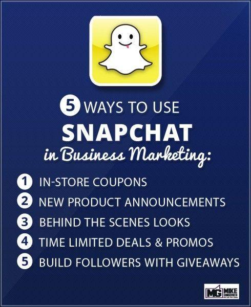 5 Ways to Use Snapchat in Business Marketing (scheduled via http://www.tailwindapp.com?utm_source=pinterest&utm_medium=twpin&utm_content=post54398698&utm_campaign=scheduler_attribution)