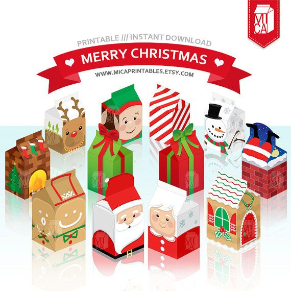 #Christmas #Printables #Party #Favor #Gift #Box #Decoration #DIY #SantaClaus #Milkcarton by MicaPrintables