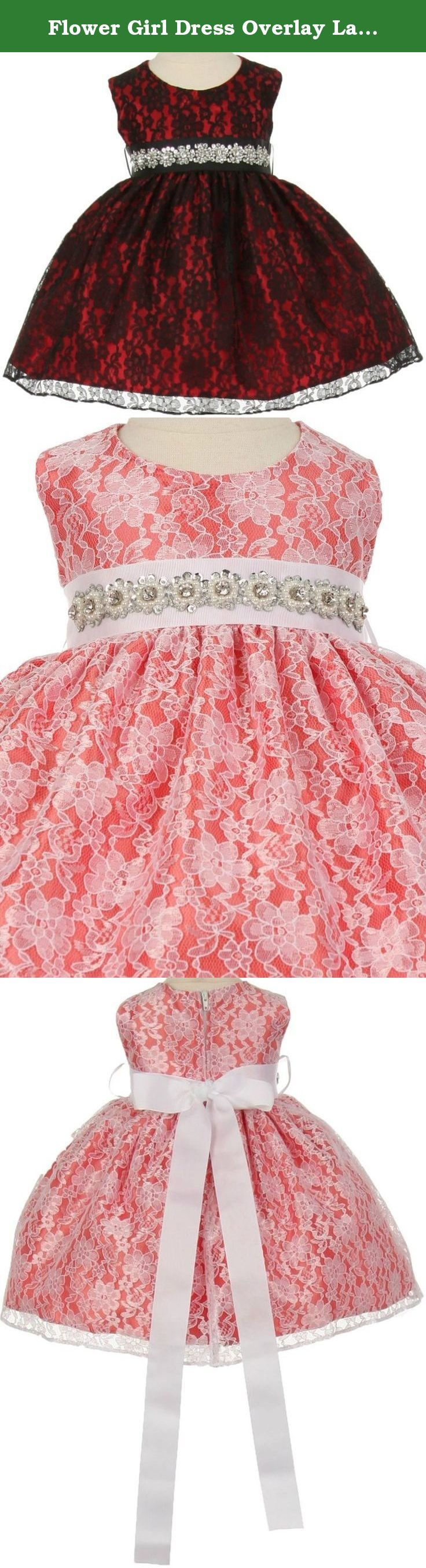 Flower Girl Dress Overlay Lace with Rhinestone Belt for Baby & Infant Red Black (Baby) L 11.32BT. Elegant two tone lace dress with a beautiful dazzling pearl sequin rhinestone ribbon sash. Skirt has the perfect amount of fullness. An absolutely gorgeous special occasion dress for your little girl. This dress is perfect for birthday parties, fomal events, religious occasions, holidays and more. Comes in girl sizes and baby sizes.