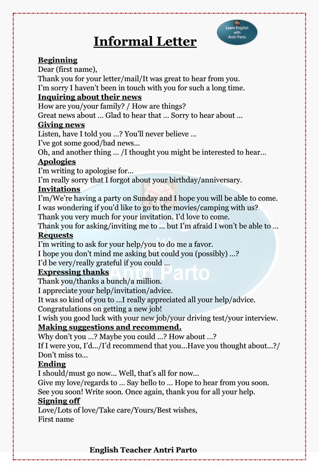 Pay for writing informal letter in english