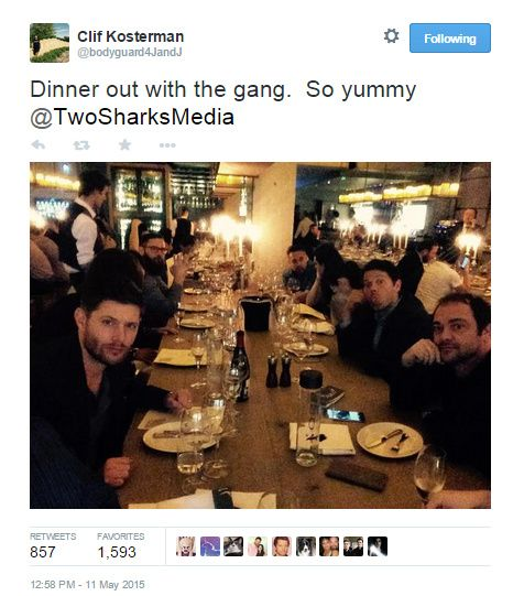 From Clif's Twitter - the gang out for dinner