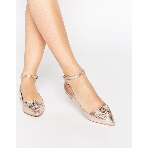 ASOS LAVISH Embellished Pointed Ballets ($45) ❤ liked on Polyvore featuring shoes, flats, rose gold, embellished flats, pointed toe shoes, jeweled flats, pointy toe ballet flats and pointed flats