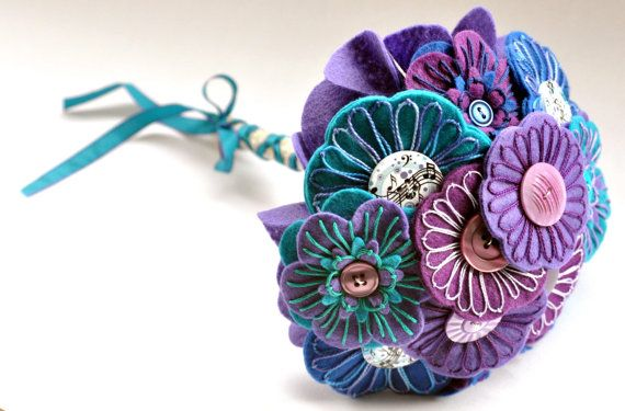 Purple Blue and Turquoise Bouquet/ Felt by CharlieLaurieDesigns, £59.00