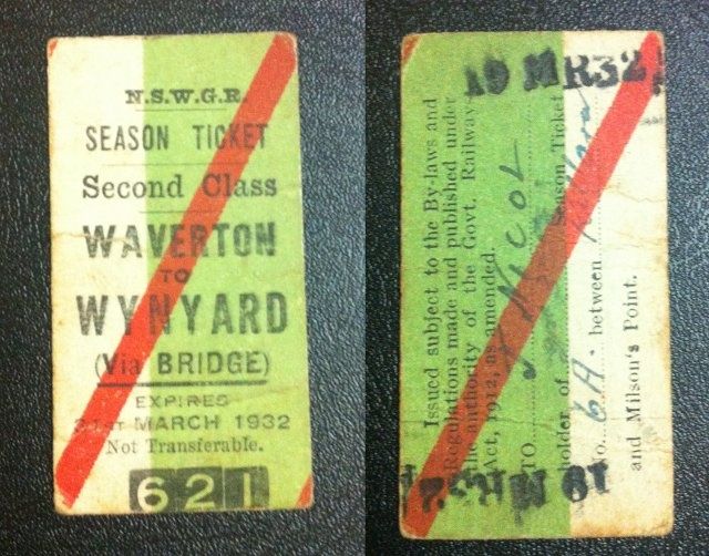The train ticket purchased by my grandfather on the day the Sydney Harbour Bridge opened! On the same day my grandmother (his future wife) walked across the bridge as a schoolgirl.