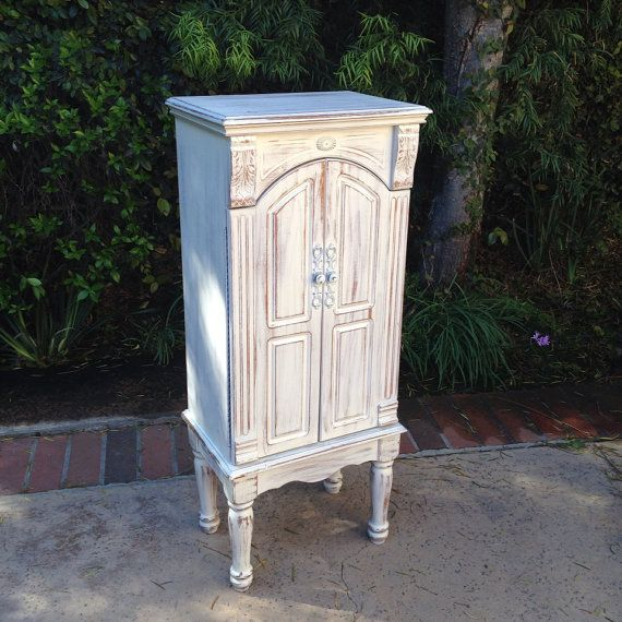 Large stand up jewelry box white jewelry organizer shabby chic jewelry armoire on Etsy, $325.00