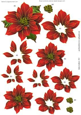 Red Poinsettias Decoupage Sheet on Craftsuprint designed by Robyn Cockburn - 3 beautiful poinsettias to layer and arrange on your card front as you please. Group them in the centre of your card, or the corner. Add die cut swirls or ferns underneath, glitter the tips of the petals and you will have an original ans spectacular card! - Now available for download!