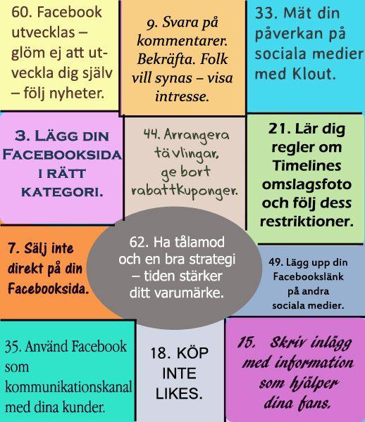 64 Facebook Tips i en pdf-fil som hjälper dig med din Facebooksida.  http://driva-webshop.se/kurser/facebook-tips