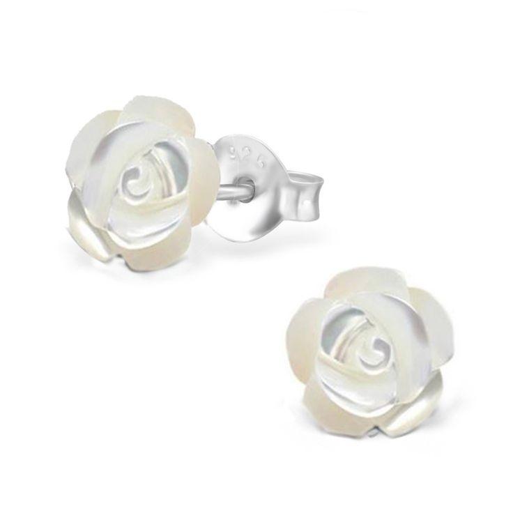 zilveren parelmoer roos oorbellen