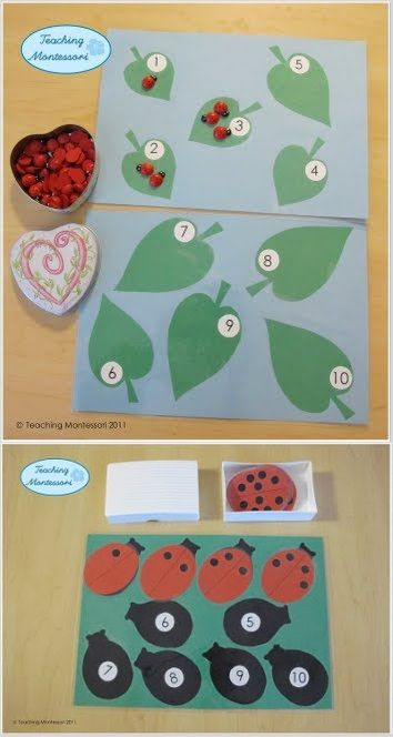Ladybug Math - good to use as a file folder game for the grouchy ladybug