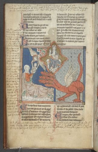 The dragon attacks the mother and child Apocalypse with a verse translation and prose commentary in French, imperfect England; 2nd half of the 13th century
