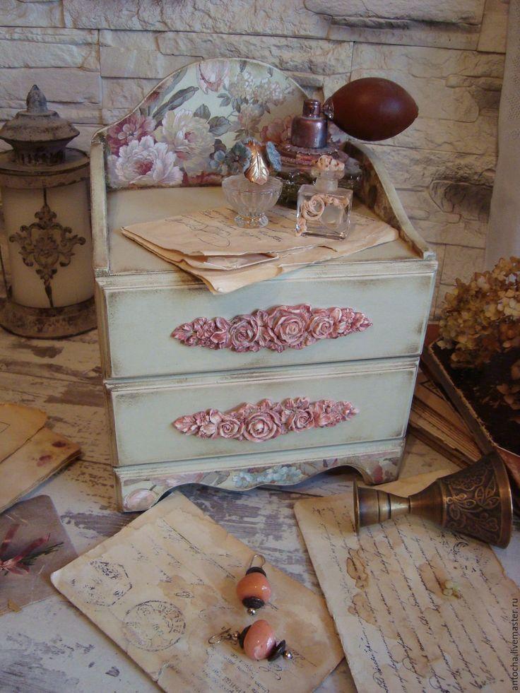 """Купить Комодик """"Цветы в моей гостиной"""" - комод, комодик, ретро, винтаж, подарок, розы, Бижутерия"""