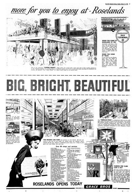 """Sixties' shopping centre [Australia] Roselands: """"big, bright and beautiful"""""""