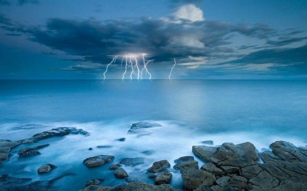 Sea and lightingPhotos, Lightning, The Ocean, Timothy Poulton, Nature Photography, Storms, Scenery Photography, Landscapes Photography, Nature Scene