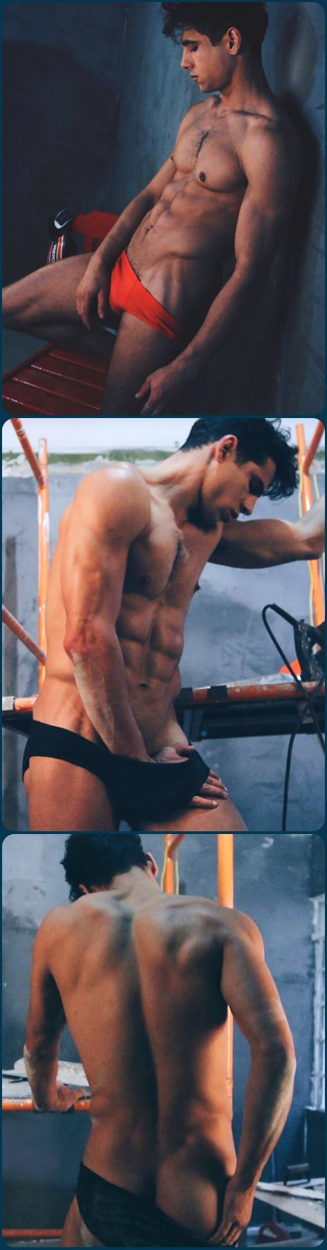 Male Model, Good Looking, Beautiful Man, Guy, Dude, Hot, Sexy, Handsome, Eye Candy, Muscle, Hunk, Abs, Sixpack, Back, Bum, Butt, Shirtless, Undies, Underwear, Bulge 男性モデル アンダーウェア 下着