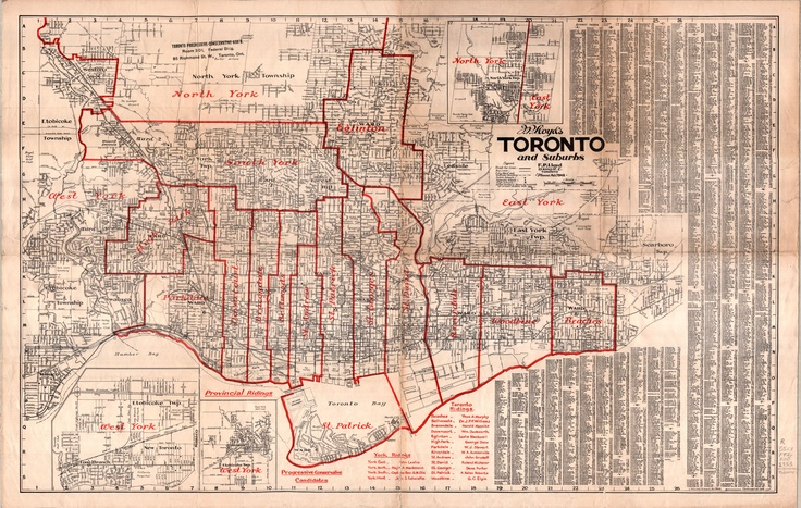 F.P. Lloyd's Toronto and suburbs [with provincial ridings as of 1933 redistribution act overprinted], Map & Data Library, University of Toronto Libraries